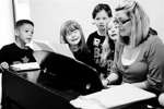 A singing lesson at Bridgend school